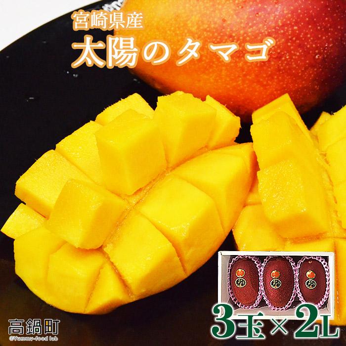 宮崎県 完熟マンゴー 太陽のタマゴ 3玉×2L(合計 約1kg)