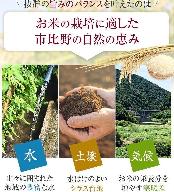 抜群の旨みのバランスを叶えたのはお米の栽培に適した市比野の自然の恵み