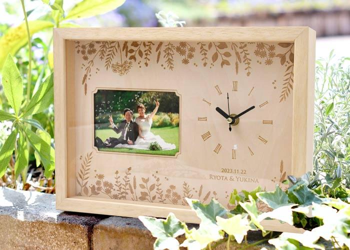 木製フォトフレーム付き時計