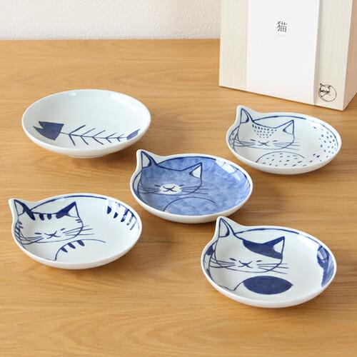 波佐見焼 neco皿 猫皿 小皿 手塩皿 5枚 セット 木箱入り ねこ皿 取り皿 ケーキ皿 磁器 石丸陶芸 日本製