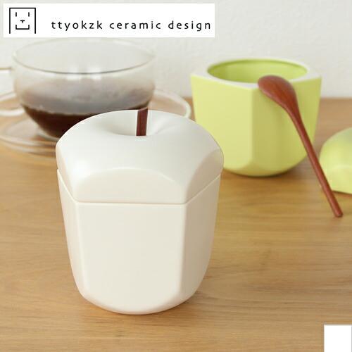 タツヤオカザキ セラミックデザイン シュガーポット りんご pomme(ポム) 白 ttyokzk ceramic design 砂糖入れ 調味料入れ スプーン付き 岡崎達也 日本製