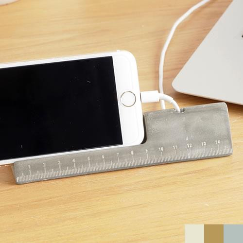 スマホスタンド 木製 コンクリート製 卓上 スマホホルダー iPhone デスク 充電 ものさし メジャー付き カードホルダー おしゃれ 多機能 RulerDock 3in1