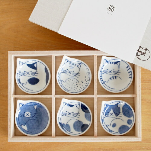 波佐見焼 豆neco皿 豆皿 小皿 6枚 セット 木箱入り 猫皿 ねこ皿 箸置き 平皿 磁器 和食器 石丸陶芸 日本製