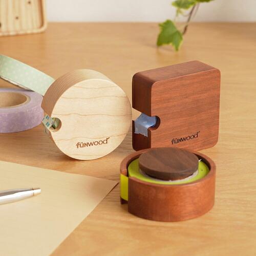 マスキングテープホルダー mtホルダー 木製 天然木 角型 丸型 メープル サペリ マスキングテープケース mtテープ おしゃれ 文具 ナチュラル ウッド funwood ファンウッド