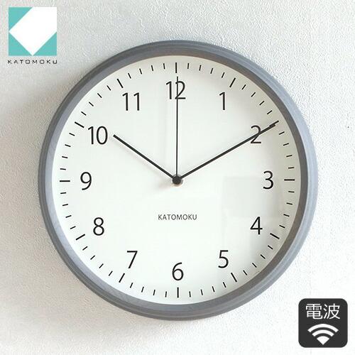 KATOMOKU muku round wall clock 4 グレー 電波時計 壁掛け