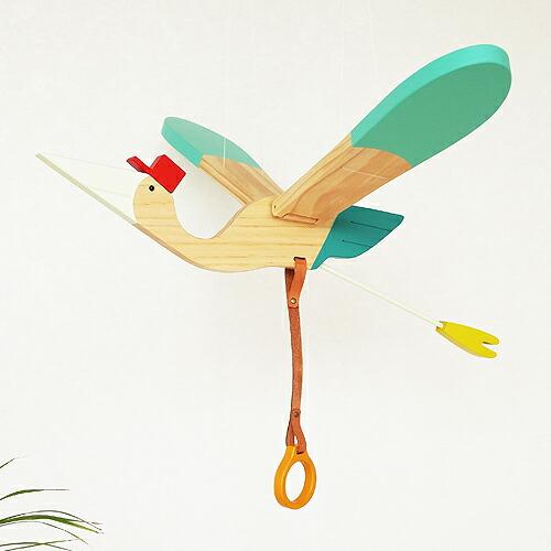 モビール 鳥 木製 eguchi toys Mobile Bird Baby bird 小飛鳥 羽ばたく 動く 大きい 子供部屋