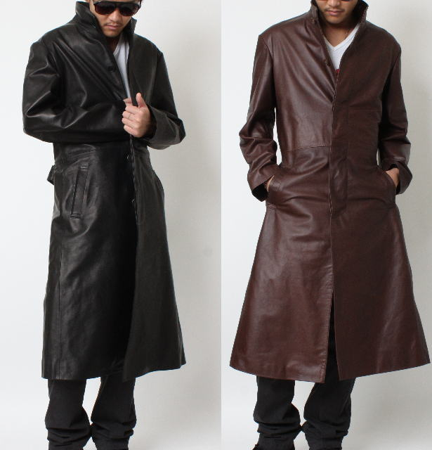 Mens leather trench coat gothic