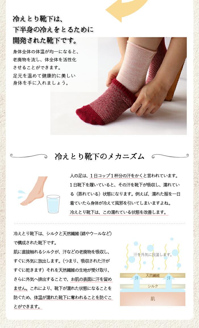 冷え取り靴下4足セット シルクと綿 かかとなし(3569)【絹屋2016春夏】