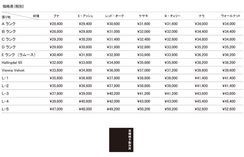 宮崎椅子価格表