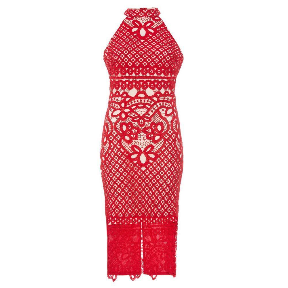 4934bb221a2e7 クイズ レディース ワンピース・ドレス ボディコンドレス Quiz Red And Nude Crochet Midi Dress red クイズ  レディース ワンピース・ドレス ボディコンドレス ...