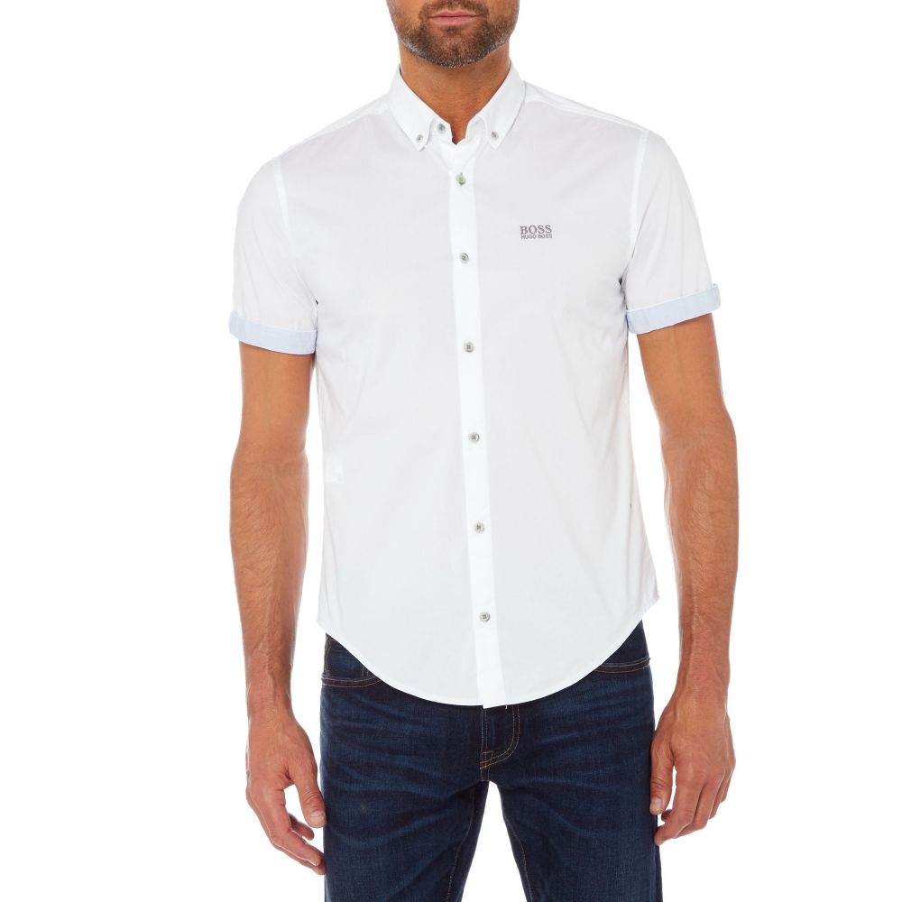 HANA+DORA Mens Short Sleeve Spread Collar Button Down Camouflage Print Fashion Shirts