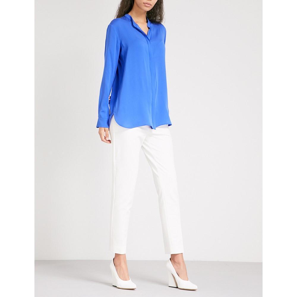 1177c16db34a マックスマーラ レディース トップス ブラウス・シャツ【kibbutz silk-crepe shirt】Blue 多数取り揃え