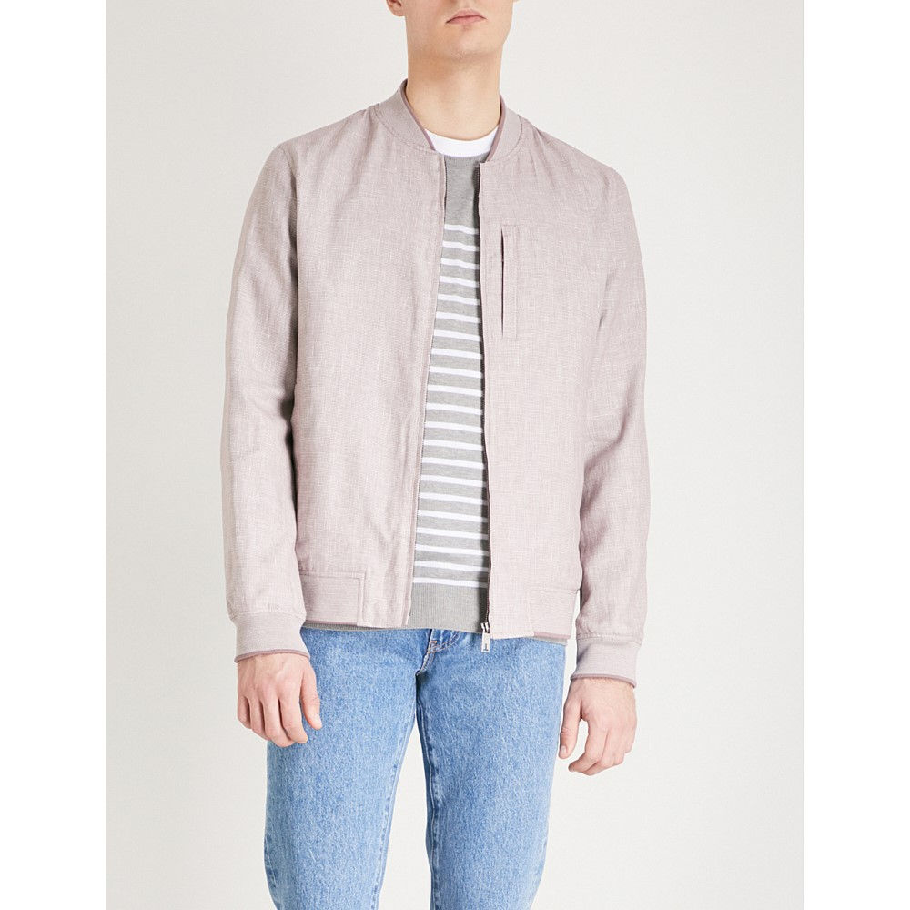 3eac3159f テッドベーカー メンズ アウター ブルゾン raney linen and cotton-blend bomber jacket Dusky pink  テッドベーカー メンズ アウター ブルゾン  サイズ交換無料