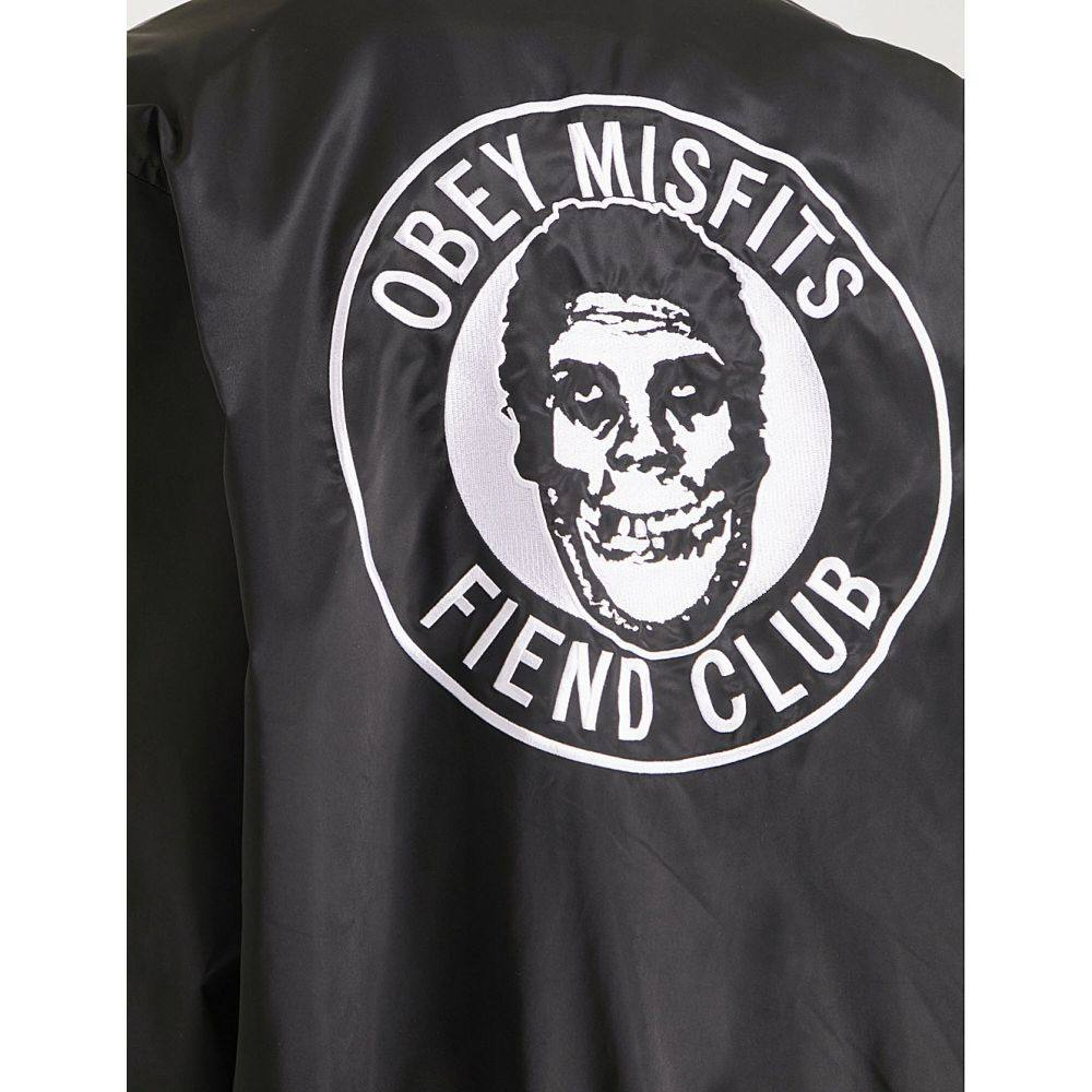 311bdee36 ... ジャケット【x misfits fiend club patch satin-shell jacket】Black. 「オベイ(OBEY )」です。