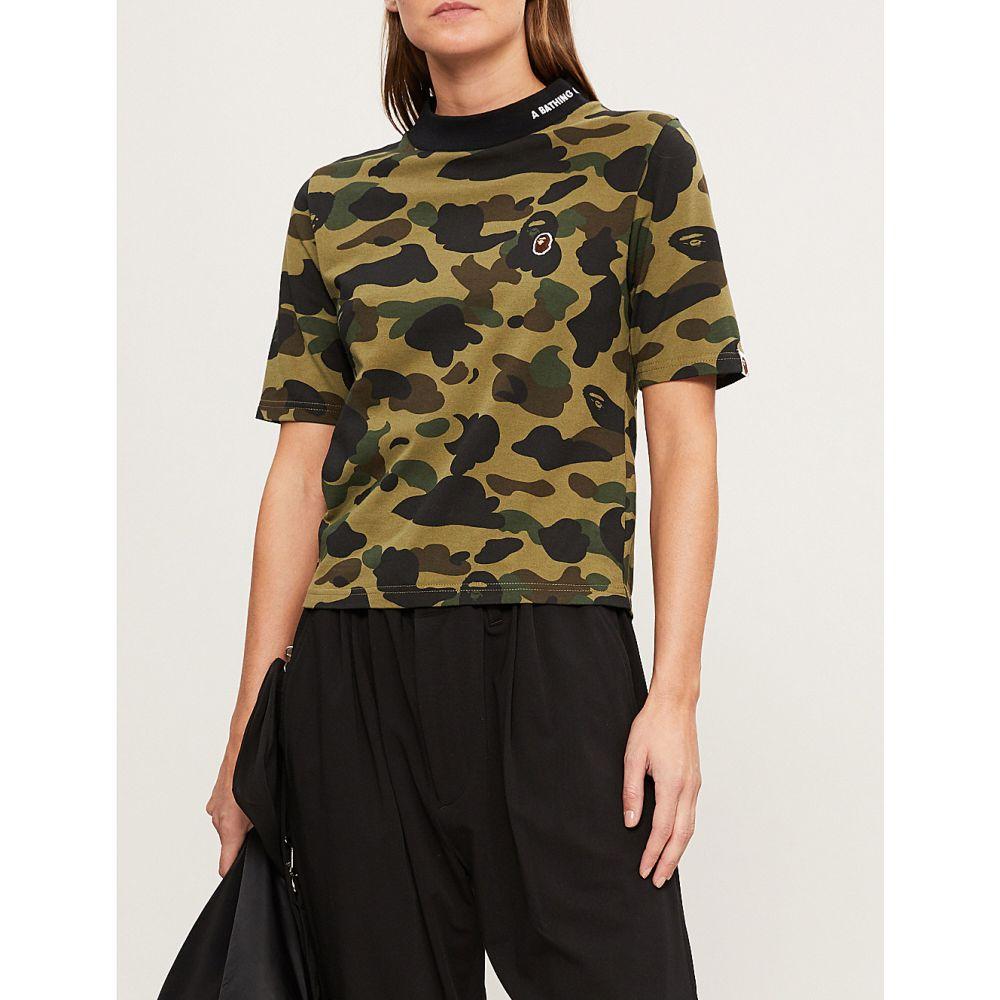97a3c1954e7c ベイプ bape レディース トップス Tシャツ【high-neck camouflage-print cotton-jersey  t-shirt】Green ベイプ レディース トップス Tシャツ 【サイズ交換無料】