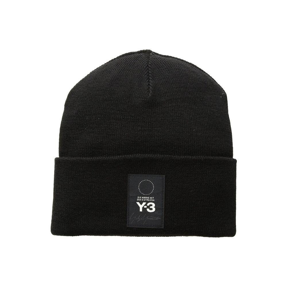 Yohji Yanamoto Y-3 LOGO BEANIE Hat Knit Cap Black From Japan New