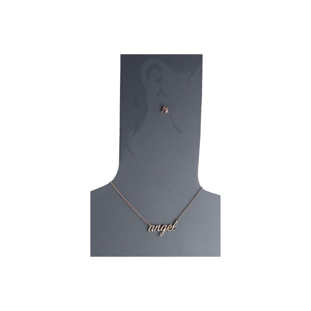 & Betsey Johnson ベッツィージョンソン ジュエリー レディース セット Angel Necklace Stud Earrings Set - Pink 女性用 宝飾品