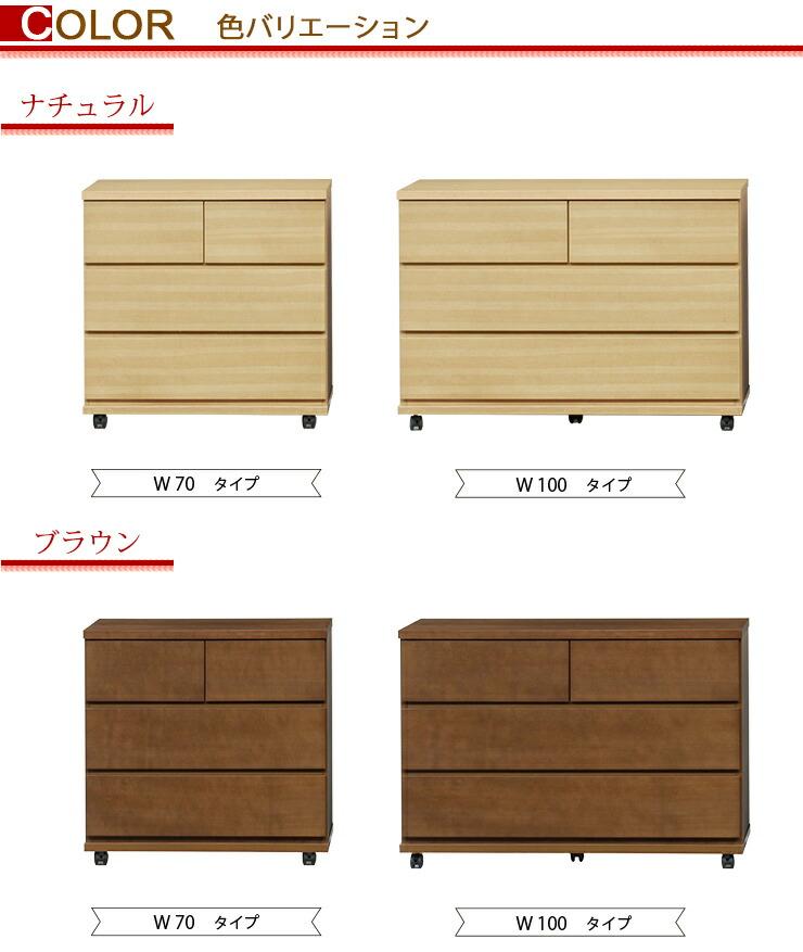 天然木タモ材システム家具シリーズ キャスター付きチェスト