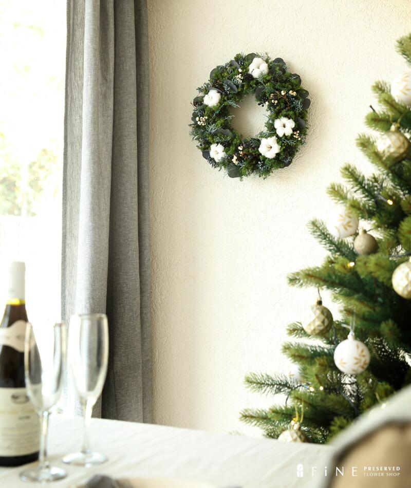 プリザーブドフラワー クリスマス リース コットン ギフト ディスプレイ ナチュラル インテリア ドライフラワー ワイルドフラワー ボタニカル