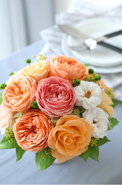 プリザーブドフラワー ローズ ハッピーカラー オレンジ アレンジメント 母の日