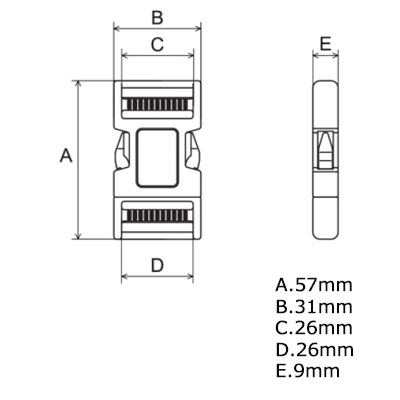 ニフコ NIFCO 50mm クロ プラスチックバックル パーツ NIFCO,ニフコ サイドリリースバックル