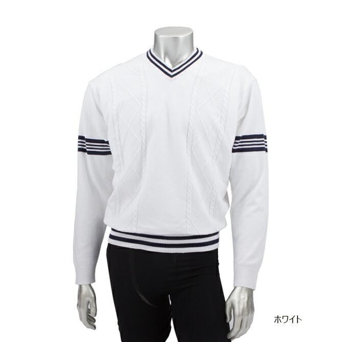 ゴルフウェア メンズVネックセーター 防風