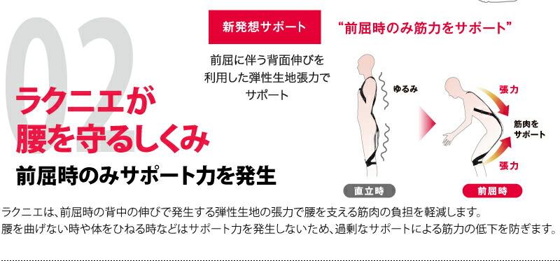 ラクニエが腰を守るしくみ 前屈時のみサポート力を発生