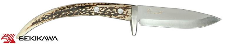 HK-2001 ナイフ 両刃 鹿角柄 皮ケース付