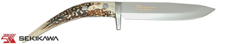 HK-2002 ナイフ 両刃 鹿角柄 皮ケース付