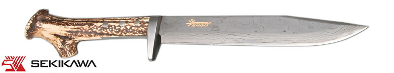 HK-2034B 積層鋼 渓流鉈 両刃 鹿角柄
