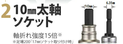 2.10mm太軸ソケット:軸折れ強度15倍