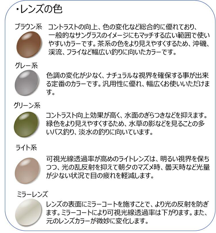 偏光サングラスの選び方、レンズの色について、レンズカラー