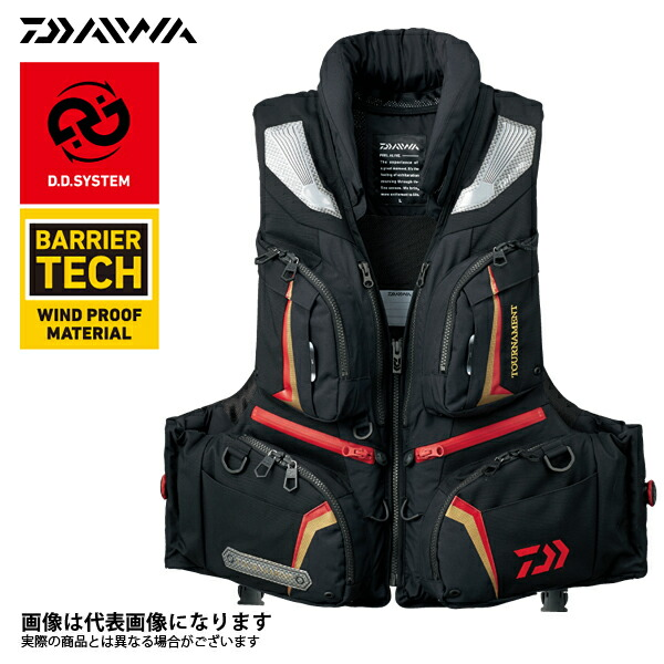 【ダイワ】DF-3107 トーナメント バリアテック 枕付きサイバーフロート ブラック Lフローティング ベスト