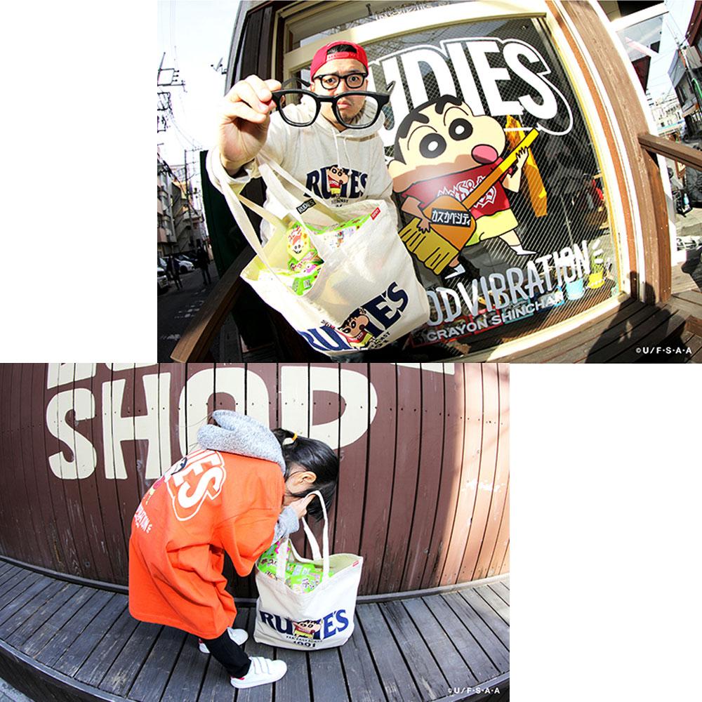 RUDIE'S/ルーディーズ クレヨンしんちゃん コラボ トートバッグ rudies/RUDIE'S x CRAYON SHINCHAN PEACE TOTEBAG 85795 85796