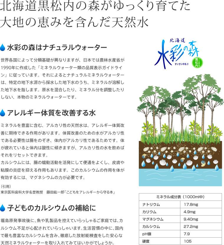 北海道黒松内の森がゆっくり育てた大地の恵みを含んだ天然水