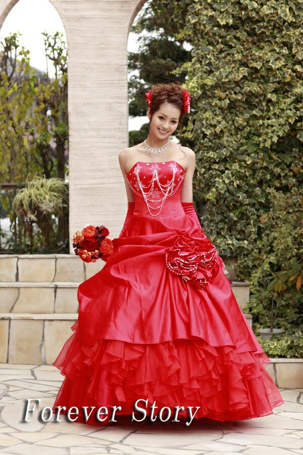 【翌日配送可】カラードレス,パーティドレス,ウエディングドレス,ウェディング,赤,Aライン,格安,激安,販売,色ドレス,披露宴,演奏会,結婚式,二次会
