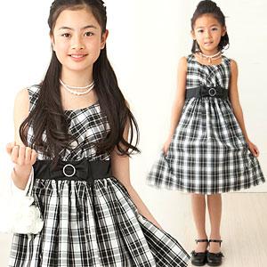 モノトーンチェックノースリーブドレス