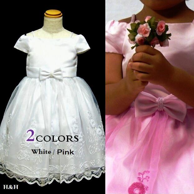 子供ドレス・ピンク・白