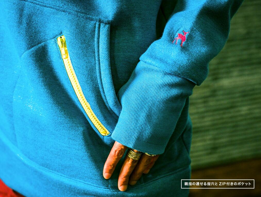 親指の通せる指穴とZIP付きのポケット