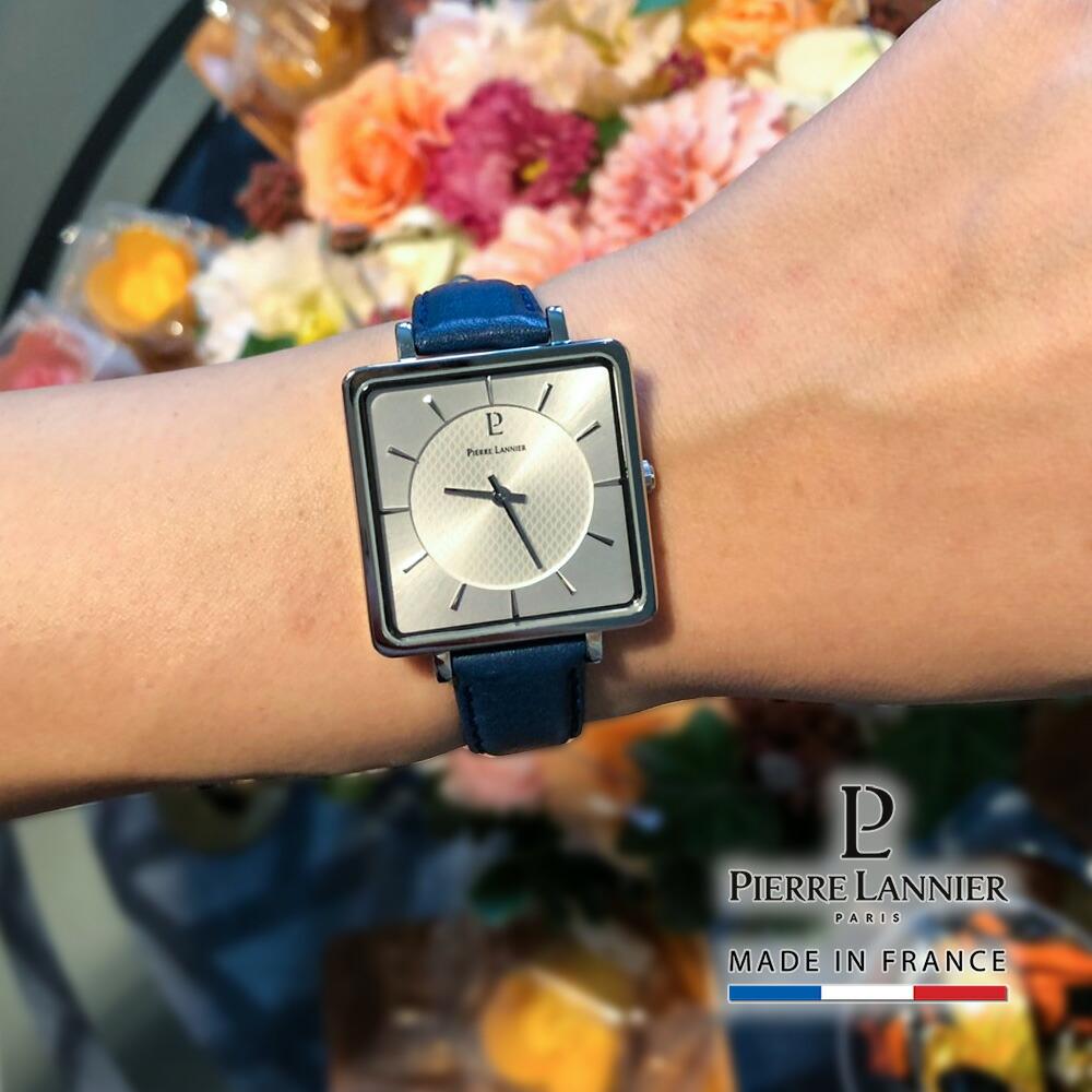 ピエールラニエ スクエア レディース 腕時計 四角形 薄い シンプル 見やすい