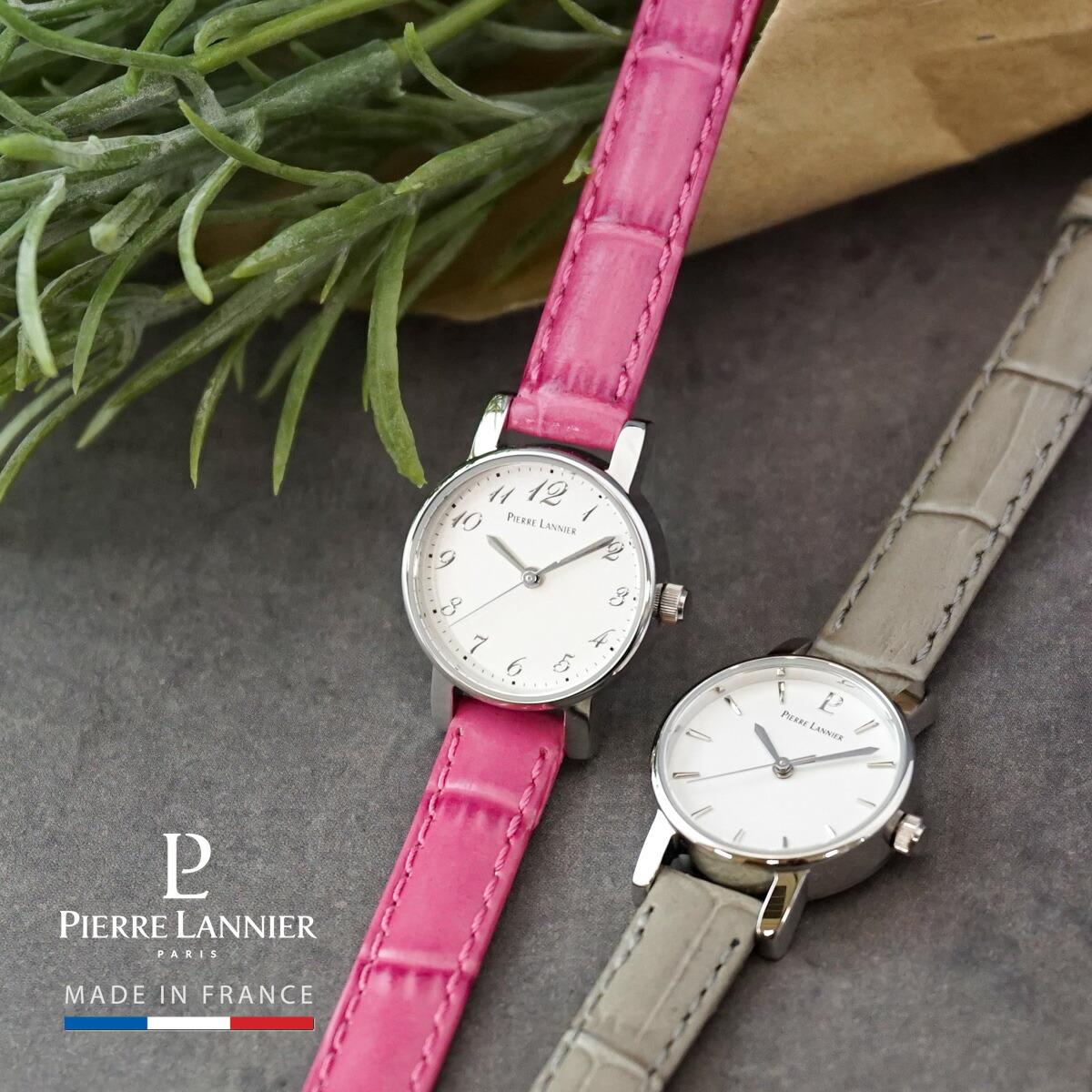 腕時計 レディース ブランド ピエールラニエ ミニカリーヌ レザーベルト
