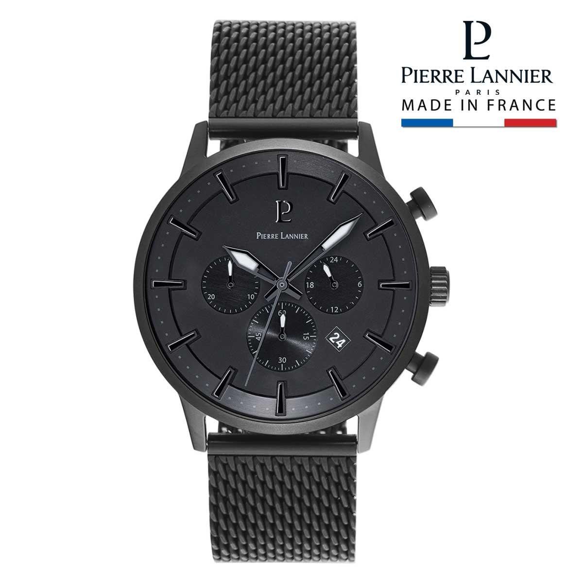 腕時計 メンズ ブランド ピエールラニエ クロノグラフ メッシュベルト ブラック