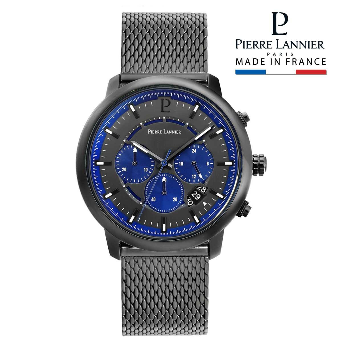 腕時計 メンズ ブランド ピエールラニエ クロノグラフ メッシュベルト ガンメタリック ブルー