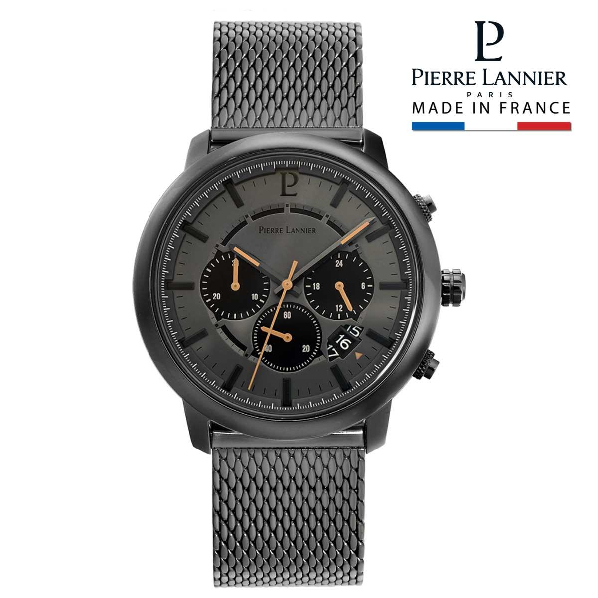腕時計 メンズ ブランド ピエールラニエ クロノグラフ メッシュベルト ガンメタリック