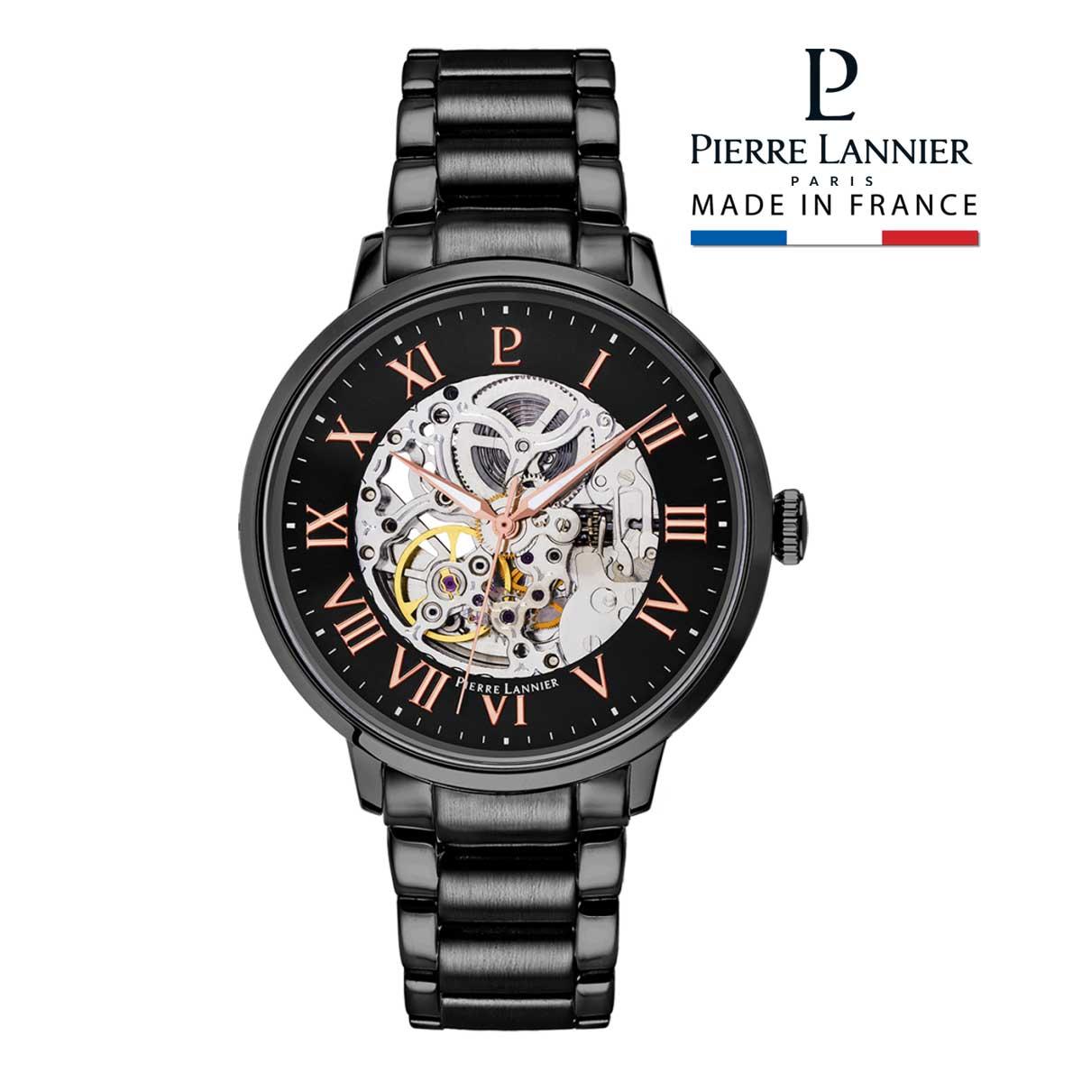 腕時計 メンズ 自動巻 ブランド ピエールラニエ オートマティック メタルベルト 牛革 スケルトン ブラック