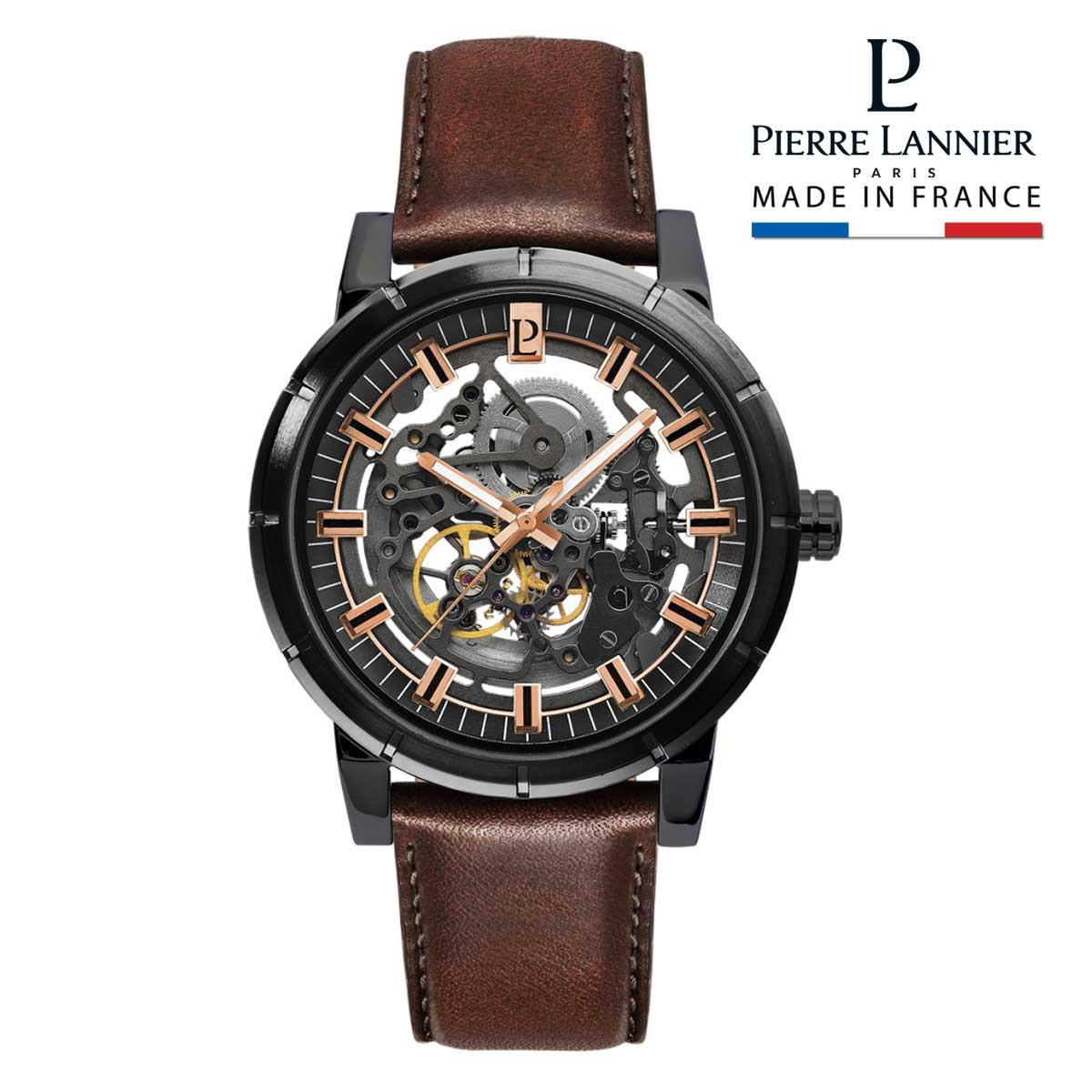 腕時計 メンズ 自動巻 ブランド ピエールラニエ オートマティック コレクション レザーベルト 牛革 スケルトン