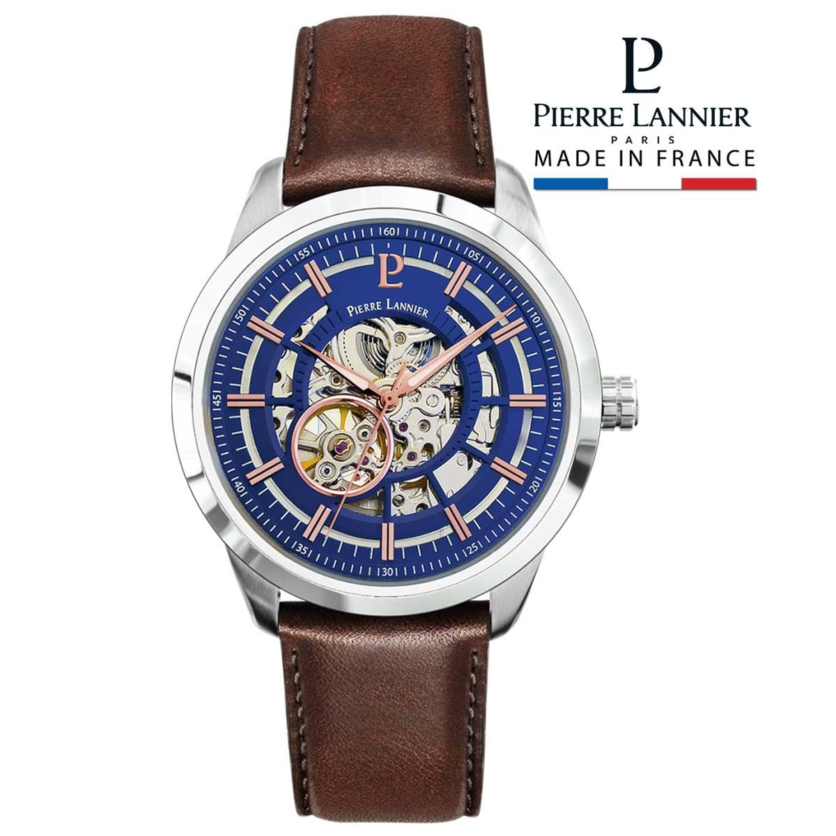 腕時計 メンズ ブランド ピエールラニエ オートマティック コレクション レザーベルト ブラウン 牛革 スケルトン ネイビー  機械式 自動巻き フランス おしゃれ 防水<BR>p329f164 プレゼント ギフト 父の日 お祝い