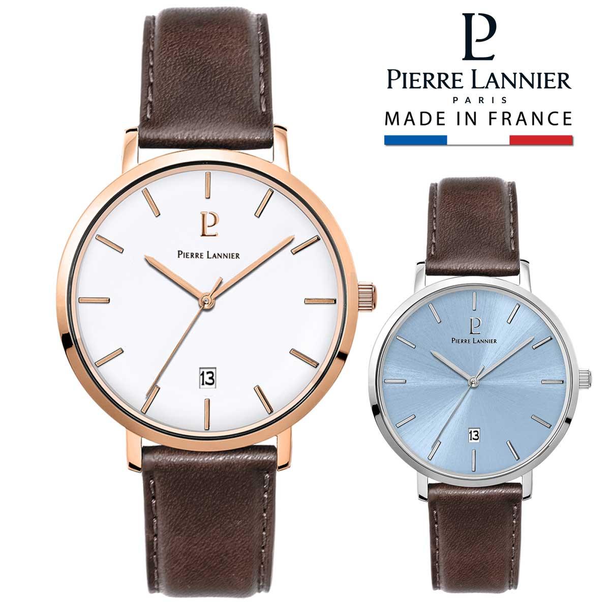 腕時計 メンズ ブランド ピエールラニエ ECHO レザーベルト ウォッチ ホワイト ブルー 3気圧防水 ステンレス ベルト 丸型 秒針 日付<BR>p258l184 p260f404 ペアウォッチ おすすめ 父の日 お祝い