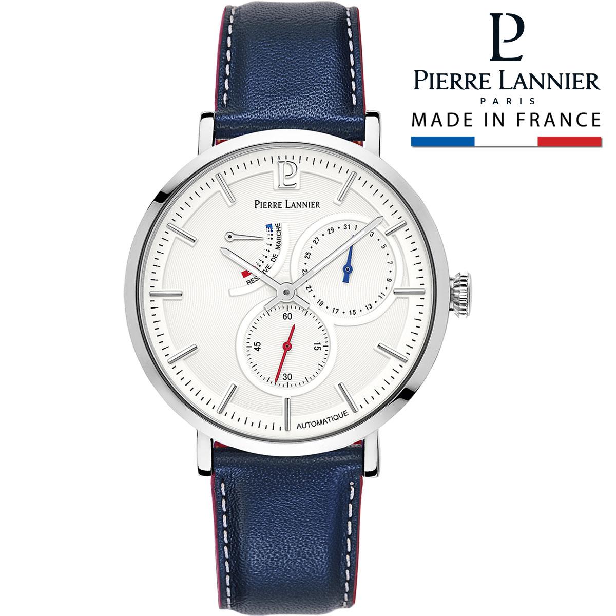 腕時計 メンズ ブランド ピエールラニエ オートマティック コレクション レザーベルト 牛革 パワーリザーブ 日付 ブラウン 機械式 自動巻き スケルトン フランス 防水<BR>p327b106 プレゼント ギフト 父の日 お祝い