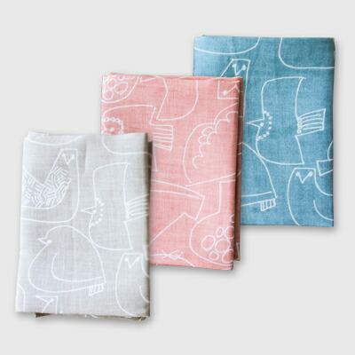 リネンハンカチ(バーズワーズ) Linen Handkerchief(BIRDS' WORDS)